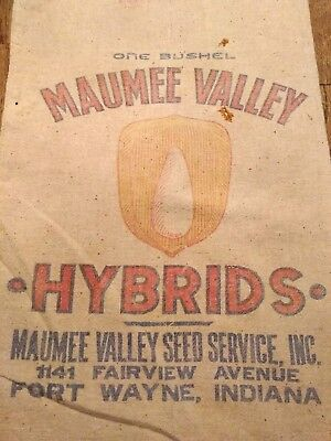 Maumee Valley Seed Service RARE FORT WAYNE sack bag feed Vtg Farm house corn