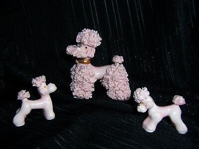 Vintage JAPAN Porcelain Spaghetti Pink POODLE Figurines Set Mother w/ 2 Puppies