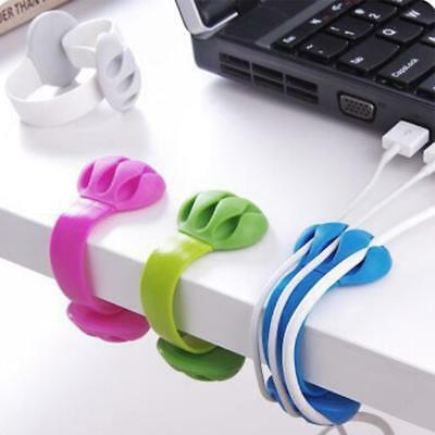 Silicone Cable Clip Table Tidy Organiser Wire Cord Lead USB Charger Holder Fixer