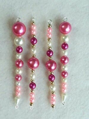 Vintage Victorian Christmas Ornaments Lot Pink White Pearl Bead Icicles 4""