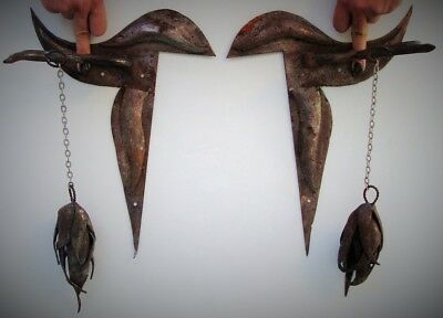 Iron Medieval Wall Sconces Pair Rusty Silver Hand Forged Viking Game Of Thrones