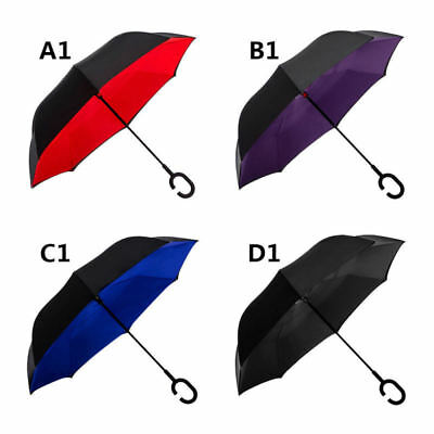 Double Layer Inverted Umbrella, C Shape Handle Reverse Folding Umbrella,Travel