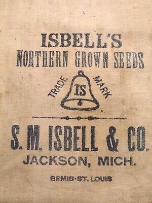 Vtg Small Isbell Seed Sack JACKSON MICHIGAN Bemis St.Louis Farmhouse Feed Bag