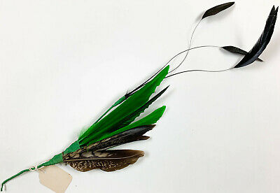 NOS vintage 1920s millinery hat pheasant quill trims 5616 green yellow peach