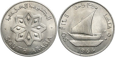 YEMEN: SOUTH ARABIA 1964 50 Fils #WC70670