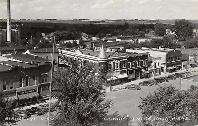 Grundy Center Ia Main Street Birdseye Frederick Furniture Tock Market 1940 Rppc