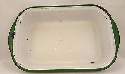 Vintage Mid Century metal white and green painted baking pan