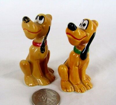 Pair of Small Vintage Porcelain Pluto Figurines - Walt Disney Productions Japan