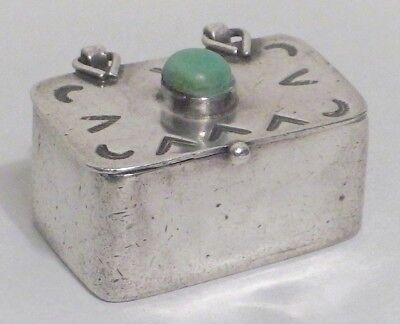 Vintage Sterling Silver Pill or Snuff Box Mexico Turquoise Stone Hand Tooled