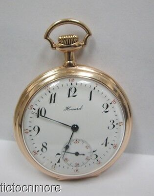 ANTIQUE E. HOWARD EATCH Co  BOSTON RR DIAL RED SECONDS POCKET WATCH d. 1912