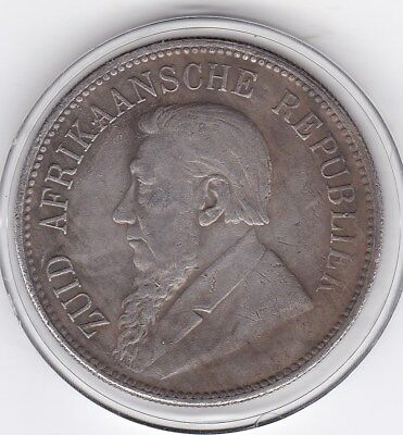 Scarce  1892  South  Africa   Large   Five  Shillings  Silver  Coin