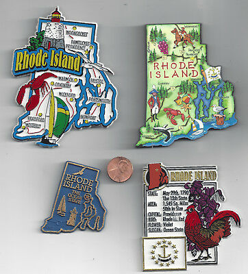 RHODE ISLAND RI MAGNET ASSORTMENT 4 NEW STATE SOUVENIRS includes  ARTWOOD MAP