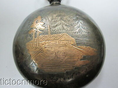 ANTIQUE ELGIN RED SECOND STERLING SILVER VERMEIL LOGGING SCENE POCKET WATCH 123g