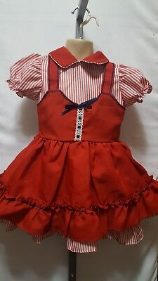"""Vintage Toddler Little Girl """"maylu"""" Red White Full Pinafore Style Party Dress 4"""