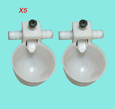 5 Pieces New Poultry Water Drinking Cups Chicken Hen Plastic Automatic Drinker