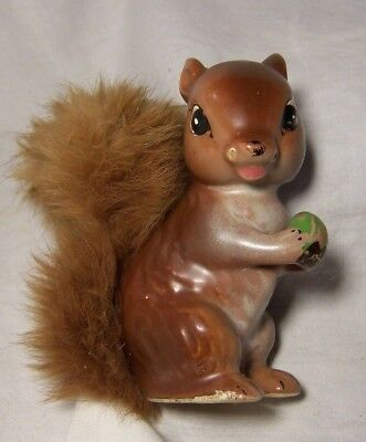 """Vintage Ceramic Brown SQUIRREL holding green SEED NUT  4"""" Figurine Real FUR Tail"""