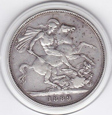 Sharp  1889  Queen  Victoria Large Crown / Five Shilling Silver British  Coin