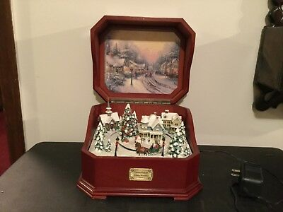 "2005 Thomas Kinkade ""HOLIDAY MEMORIES"" Holiday Music Box w/ Miniature Scene"