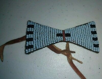 Vintage Native American Indian Beadwork on Leather Bowtie Shape Details Unknown