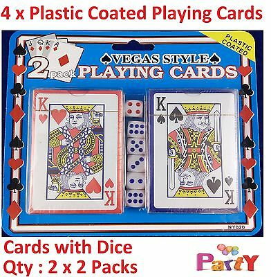 Blue & Red Deck with 6 dies - Plastic Coated Playing Cards Decks Card Games