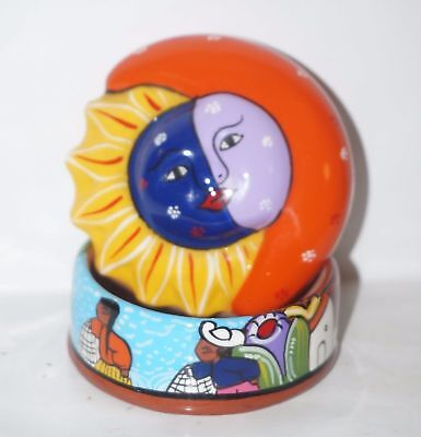 Talavera Los Cinco Soles ceramic Trinket Box w/ Sun & Moon two faces top signed