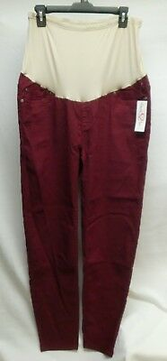 Times Two Maternity Corduroy Pants With Stretch Panel Burgandy XL New NWT