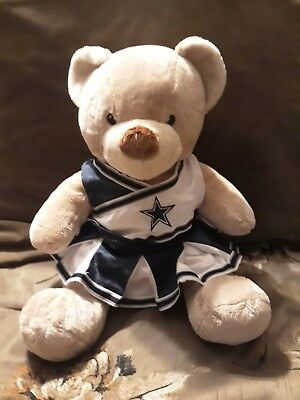 Build a bear Workshop-- beige bear with blue NFL skirt and top