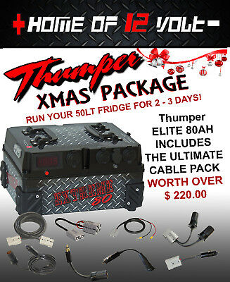 Thumper ELITE 80AH Battery Pack 12 Volt Deep cycle + BONUS cable pk dual system