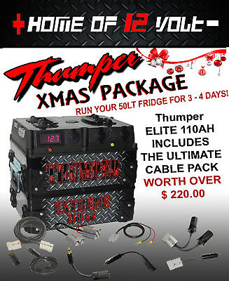 Thumper ELITE 110AH Battery Pack + CABLE PK 12 volt dual battery Toyota 4wd 4x4