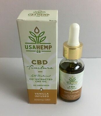 CBD Tincture 500MG Full Spectrum All Natural  Hemp Oil Vanilla Infused.