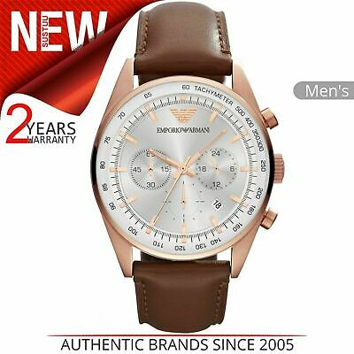 Emporio Armani Sportivo Men's Watch AR5995¦Chronograph Dial¦Brown Leather Strap