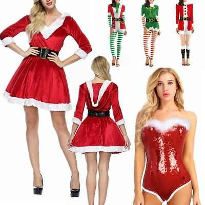 Mrs Claus Outfit Womens Ladies Fancy Dress Santa Baby Costume Christmas Party