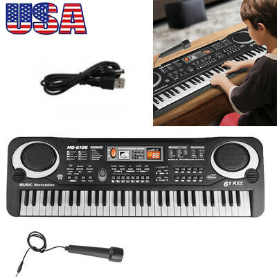 61 Key Music Electronic Keyboard Kids LED Piano Organ Instrument With Microphone