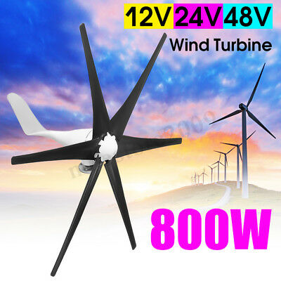 800W 12/24V/48V 6 Blades Wind Turbine Generator Charger Controller Home Power