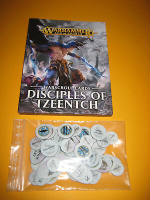 Warhammer - Age of Sigmar - Diciples of Tzeentch - Warscroll Cards + Tokens