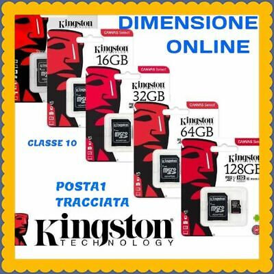 KINGSTON MICRO SD 16 GB 32 GB 64 GB classe 10 MB/S 80 Canvas SCHEDA MEMORIA NEW
