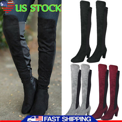 3a3ff1f81f0 WOMENS FLAT LOW Heel Over The Knee Thigh Boots Stretch Zip Riding ...