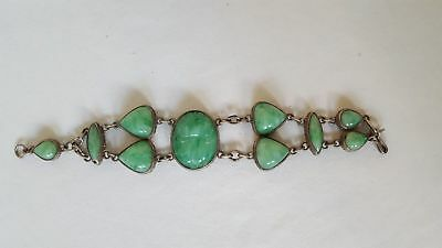 Egyptian Revival Vintage Scarab Bracelet Green Jade Glass Jeweled Neiger Style