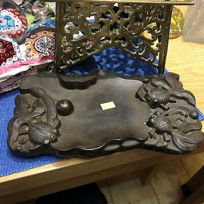 Antique Japanese Stone Carved Dish With Koi Carp