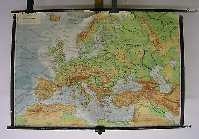 alte Schulwandkarte Europa europe after WW2 Hitler 1945  vintage wall map 124x83