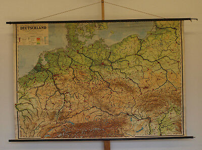 Schulwandkarte Deutschland ~1954 197x134cm vintage germany after WW2 school map