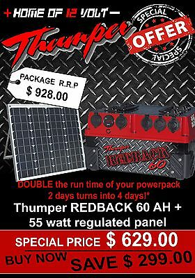 Thumper Redback 60 AH AGM Pack Portable dual battery system + 55WATT SOLAR PANEL