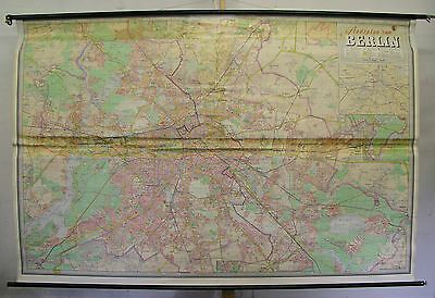 Schulwandkarte Wandkarte wall map card Berlin city of Stadtplan 233x154cm ~1965