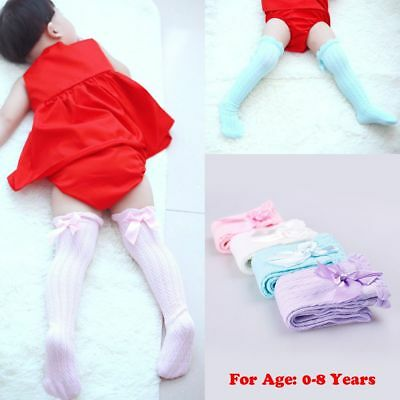 Cotton Infant Bowknot Pantyhose Knee High Stockings Kids Tights Baby Lace Socks