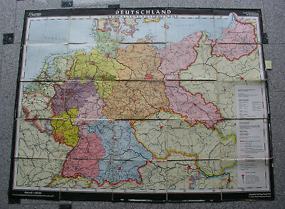 Wandkarte Germany after 1945 BRD DDR Osten 158x115~1954 administrative division