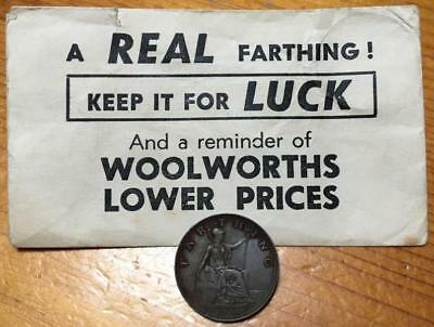 1936 Farthing In Woolworths **keep It For Luck** Envelope..scarce.