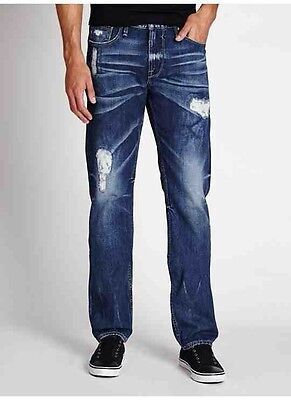 Nwt 210 Guess Mens Blue Denim Slim Fit Distressed Jeans With