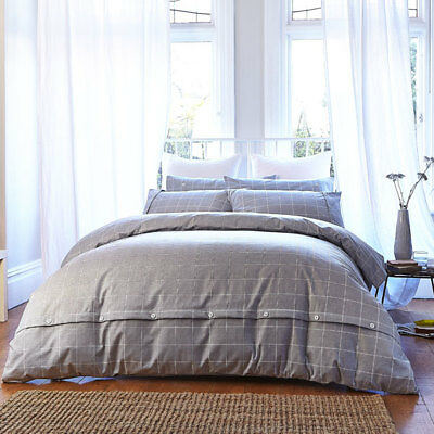 Bianca Cotton Soft Brushed Cotton Duvet Cover and Pillowcase Set, Grey