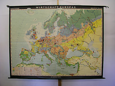Schulwandkarte Beautiful Old Europakarte Economy 1963 212x160cm Vintage Map