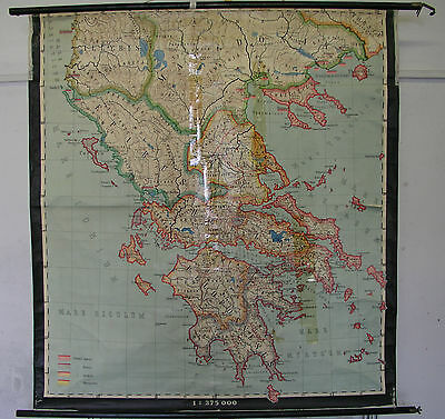 Schulwandkarte Wall Map School Map Old Map Graecia Greece Large 149x163cm